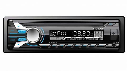 Автомагнитола Rolsen RCR-251B бездисковая USB MP3 FM SD MMC 1DIN 4x45Вт черный