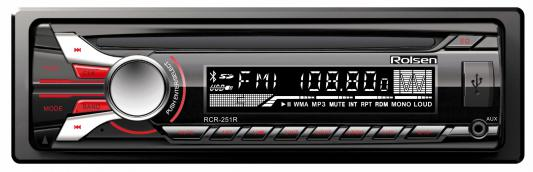 Автомагнитола Rolsen RCR-251R бездисковая USB MP3 FM SD MMC 1DIN 4x45Вт черный