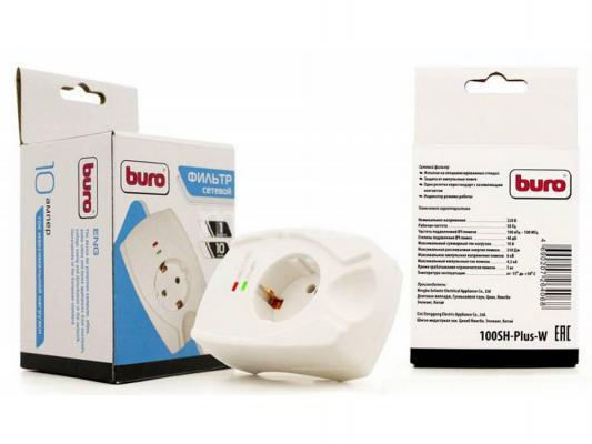 Сетевой фильтр BURO 100SH-PLUS-W белый 1 розетка