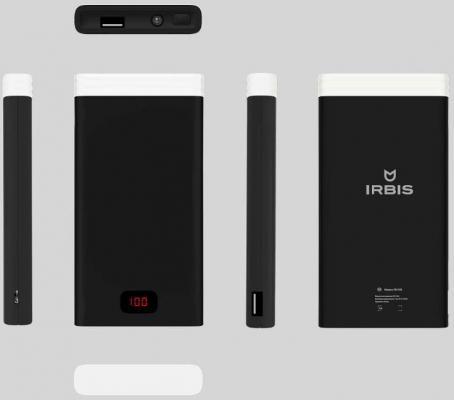 Портативное зарядное устройство Irbis 10000мАч c фонариком черный PB1C60
