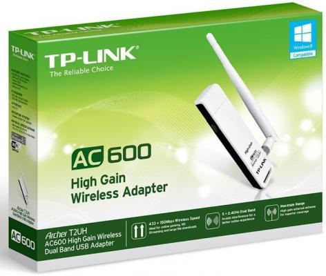 Беспроводной USB адаптер TP-LINK Archer T2UH AC600 802.11a/b/g/n/ac 433Mbps 2.4/5ГГц 20dBm сетевой адаптер usb 2 0 tp link archer t2uh usb 2 0