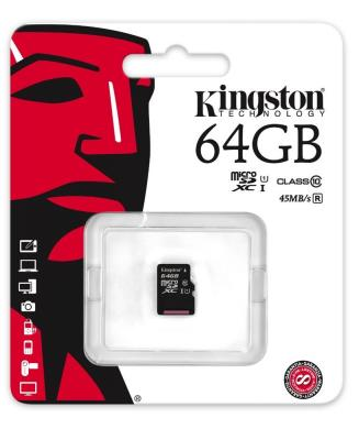 Карта памяти Micro SDXC 64GB Class 10 Kingston SDC10G2/64GBSP карта памяти micro sdxc kingston sdca10 64gb