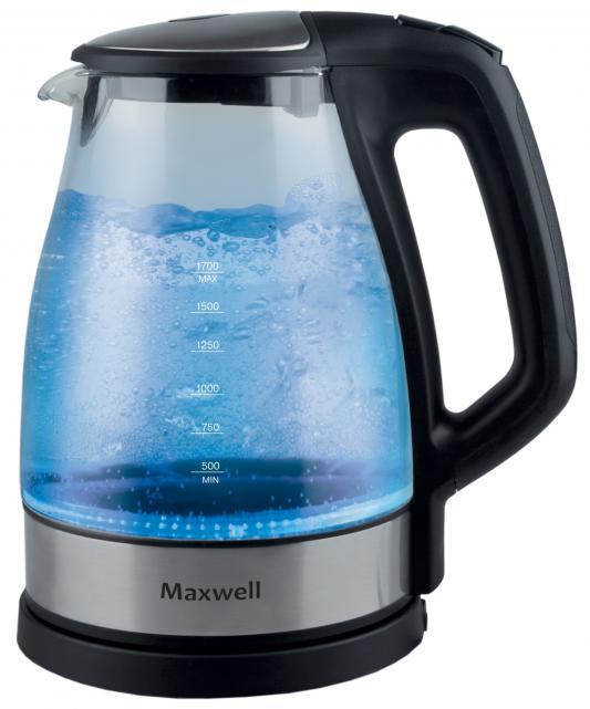 Чайник Maxwell MW-1075 BK 2150 Вт чёрный 1.7 л стекло чехол для lenovo ideatab 2 a7 30 g case executive эко кожа белый
