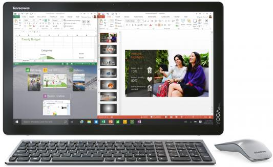 "Моноблок Lenovo Yoga Home 500-22IBU 21.5"" 1920x1080 i5-5200U 2.2GHz 8Gb 500Gb 8Gb SSD GF920A-1Gb Win10 клавиатура мышь серебристый F0BN001GRK"