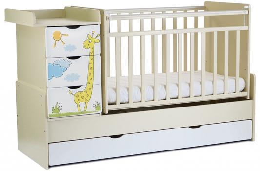 Кроватка-трансформер СКВ-5 4 ящика (бежевый-белый/фотообои жираф/520039-1)
