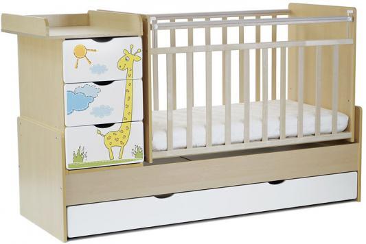Кроватка-трансформер СКВ-5 4 ящика (береза-белый/фотообои жираф/520035-1)