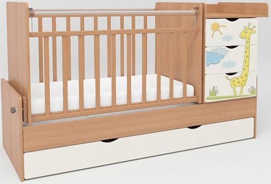 Кроватка-трансформер СКВ-5 4 ящика (бук-белый/фотообои жираф/520036-1)