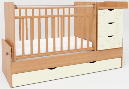 Кроватка-трансформер с маятником СКВ-5 (жираф/ венге+ясень крем/540038-410)