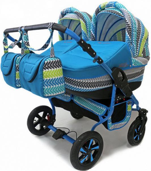 Коляска 2-в-1 для двоих детей Polmobil Viva (04/бирюза)