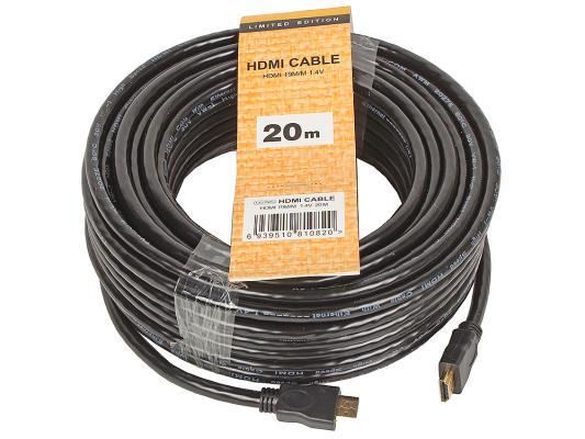 Кабель HDMI 20м VCOM Telecom CG150S-20M круглый черный кабель рт кабель ввгмб пнга 3х2 5 20м 18225