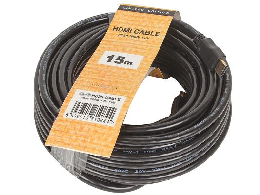 Кабель HDMI 15м VCOM Telecom CG150S-15M/CG501N-15M круглый черный кабель для монитора vga 15m 15m 15 0 метров cablexpert