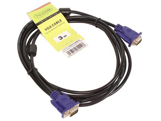 Кабель VGA 3.0м VCOM Telecom 2 фильтра QCG120H-3M кабель vga 50м vcom telecom 2 фильтра vvg6448 50m carton packing