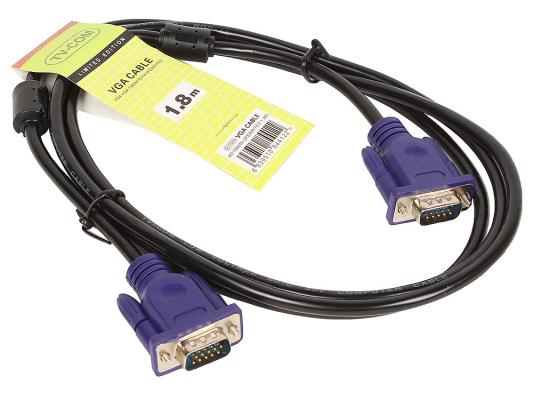 Кабель VGA 1.8м VCOM Telecom 2 фильтра QCG120H-1.8M/QCG341AD