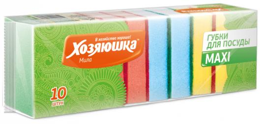 Губка для посуды Хозяюшка Мила MAXI 01001 10шт хозяюшка мила губка для тефлоновой посуды пчелка в вакуумной упаковке 2 шт 100шт 01020 100