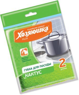 Губка для посуды Хозяюшка Мила Кактус 01008-100 хозяюшка мила губка для тефлоновой посуды пчелка в вакуумной упаковке 2 шт 100шт 01020 100