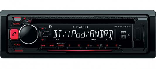 Автомагнитола Kenwood KDC-BT500U USB MP3 CD FM RDS 1DIN 4х50Вт черный чехол для iphone apple iphone x silicone case midnight blue mqt32zm a