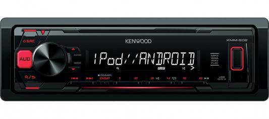 Автомагнитола Kenwood KMM-202 USB MP3 FM RDS 1DIN 4х50Вт черный