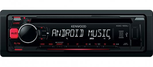 Автомагнитола Kenwood KDC-100UR USB MP3 CD FM RDS 1DIN 4х50Вт черный