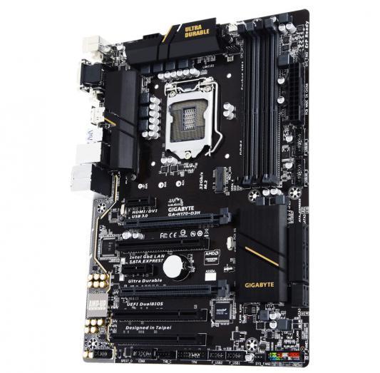 Мат. плата для ПК GigaByte GA-H170-D3H Socket 1151 H170 4xDDR4 2xPCI-E 16x 3xPCI 2xPCI-E 1x 6xSATAIII ATX Retail