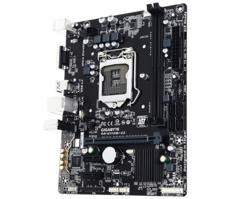 Мат. плата для ПК GigaByte GA-H110M-S2 Socket 1151 H110 2xDDR4 1xPCI-E 16x 2xPCI-E 1x 4xSATAIII mATX Retail
