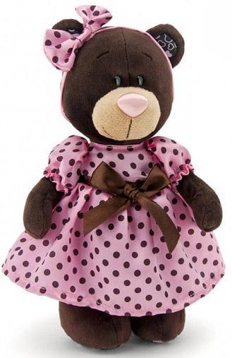 Мягкая игрушка медведь Orange Milk в летнем платье текстиль коричневый 30 см М011/30