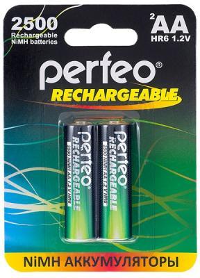 Аккумуляторы Perfeo AA2500/2BL 2500 mAh AA 2 шт зарядное устройство аккумуляторы duracell cef14 2 х aa2500 mah 2 х aaa850 mah