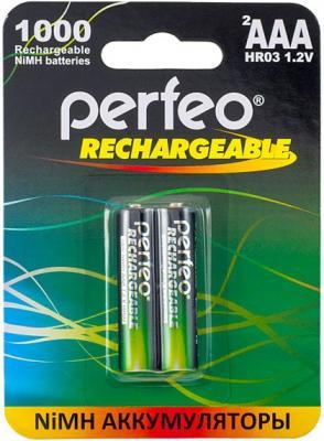 Аккумуляторы Perfeo AAA1000/2BL 1000 мАч AAA 2 шт аккумулятор эра eco energy тип aaa hr03 2bl 1000 мач 2 шт
