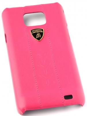 Кожаный клип-кейс для Samsung Galaxy S2 Lamborghini Performate-D1 (розовый) цена и фото