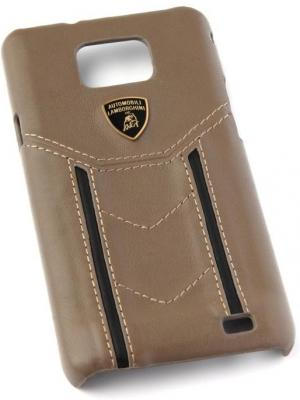 Кожаный клип-кейс для Samsung Galaxy S2 Lamborghini Gallardo-D2 коричневый черный