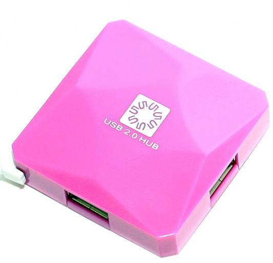 Концентратор USB 5bites HB24-202PU 4 порта USB2.0 пурпурный