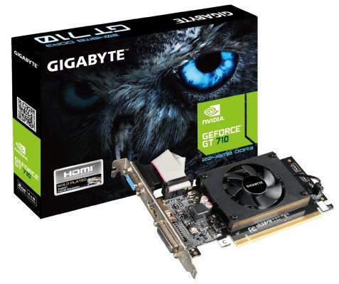Видеокарта 2048Mb Gigabyte GT710 PCI-E GDDR3 64bit HDMI DVI CRT HDCP GV-N710D3-2GL Retail