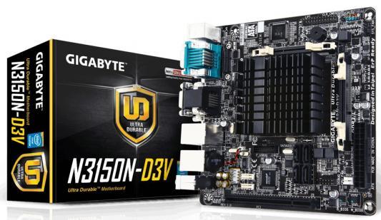 Мат. плата для ПК GigaByte GA-N3150N-D3V с процессором Intel 2xDDR3 1xPCI 4xSATAIII mini-ITX Retail
