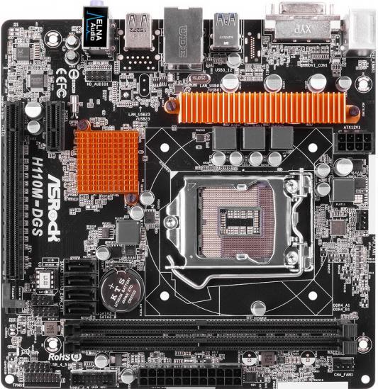 Мат. плата для ПК ASRock H110M-DGS Socket 1151 H110 2xDDR4 1xPCI-E 16x 1xPCI-E 1x 4xSATAIII mATX Retail