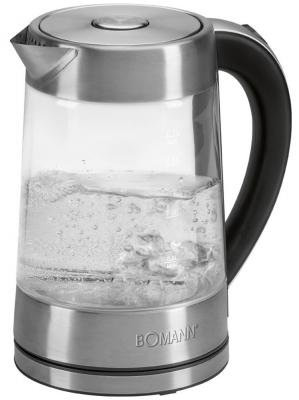 Чайник Bomann WK 5023 G CB inox 1700 Вт чёрный серебристый 1.7 л металл/стекло электрогриль bomann mg 2251 cb schw inox