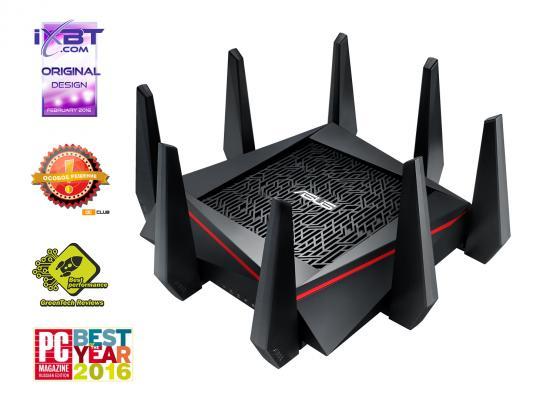 Беспроводной маршрутизатор ASUS RT-AC5300 802.11acbgn 5334Mbps 5 ГГц 2.4 ГГц 4xLAN USB RJ-45 черный маршрутизатор asus rt n66w 802 11abgn 900mbps 5 ггц 2 4 ггц 4xlan usb3 0 белый
