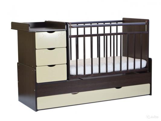 Кроватка-трансформер СКВ-5 5 ящиков (венге-береза/544038-5)