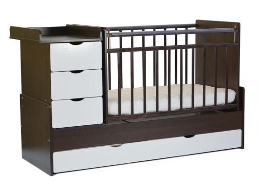 Кроватка-трансформер СКВ-5 4 ящика (венге-бежевый фасад жираф/540038-9)