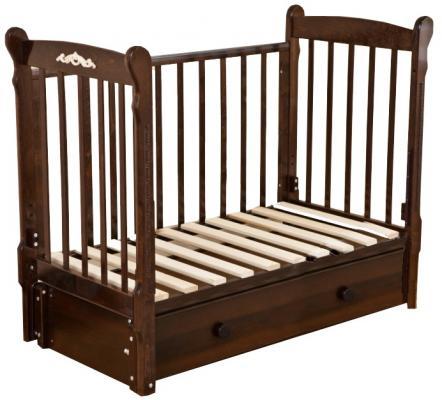 Кроватка с маятником Красная Звезда Артем (шоколад/накладка №6 Шарлотта)