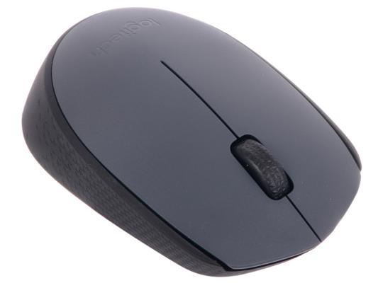 Мышь беспроводная Logitech M170 чёрный серый USB 910-004642 мышь беспроводная logitech m590 серый usb 910 005198