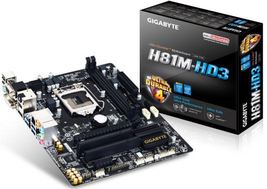 Мат. плата для ПК GigaByte GA-H81M-HD3 (rev. 2.0) Socket 1150 H81 2xDDR3 1xPCI-E 16x 2xPCI 1xPCI-E 1x 2xSATA II 2xSATAIII mATX Retail
