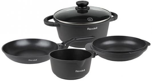 Набор посуды Rondell 563-RDA кастрюля сковорода сотейник стеклянная крышка 24см ковш съемная ручка набор посуды rondell rda 563