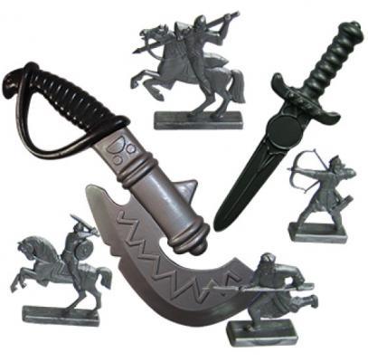 Набор Пластмастер Секира+кинжал+фигурки воинов серый для мальчика 50026