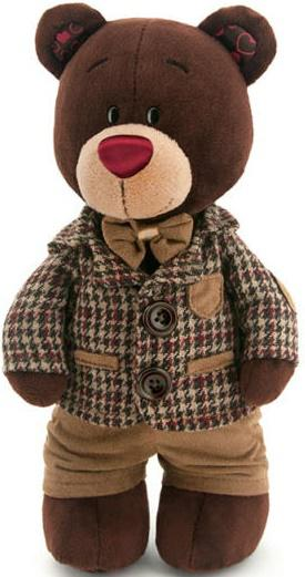 Мягкая игрушка медведь Orange Choco стоячий в клетчатом пиджаке текстиль коричневый 25 см С5047/25 мягкая игрушка собака orange чихуа kiki малиновый блеск текстиль искусственный мех розовый коричневый 25 см ld010