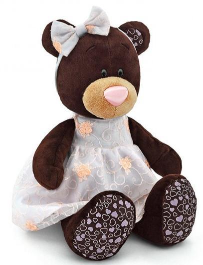 Мягкая игрушка медведь Orange Milk сидячая в платье с вышивкой плюш коричневый 25 см М5040/25