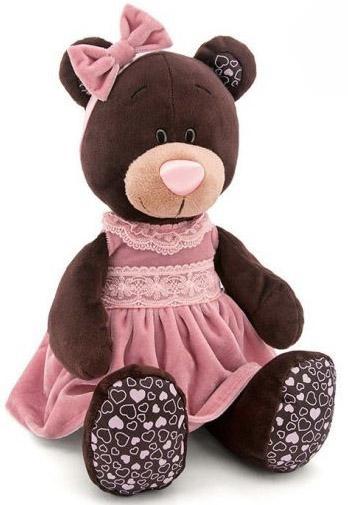 Мягкая игрушка медведь Orange Milk в розовом бархатном платье текстиль коричневый 25 см М5043/25