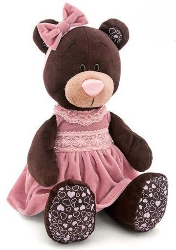 Мягкая игрушка медведь Orange Milk  розовом бархатном платье текстиль коричневый 50 см М5043/
