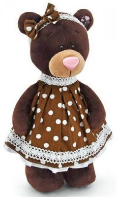 Мягкая игрушка медведь ORANGE Milk в платье в горох текстиль коричневый 30 см М5052/30 orange медведь девочка milk с сердцем 25 см