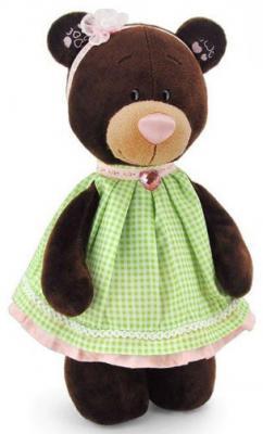 Мягкая игрушка медведь Orange Milk в платье в клеточку текстиль коричневый 30 см М5051/30