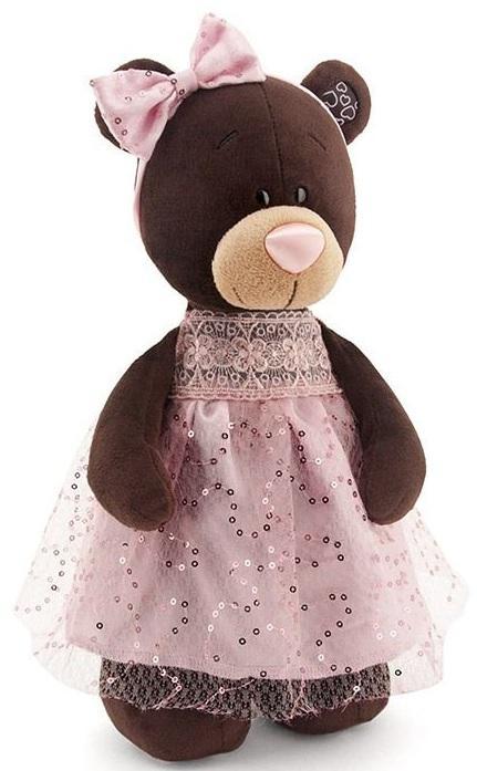 Мягкая игрушка медведь Orange Milk стоячая в платье с блёстками искусственный мех коричневый 30 см М5048/30