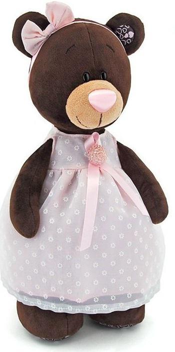 Мягкая игрушка медведь Orange Milk стоячая в платье с брошью искусственный мех коричневый 30 см М5046/30